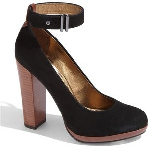Black Suede Block Stacked Heels Sam Edelman 7.5
